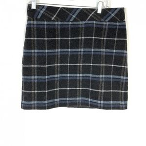 Vintage Black Blue Plaid Grunge Preppy Mini Skirt